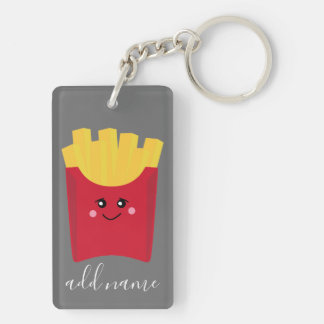 Cute Kawaii French Fries with Custom Name Keychain