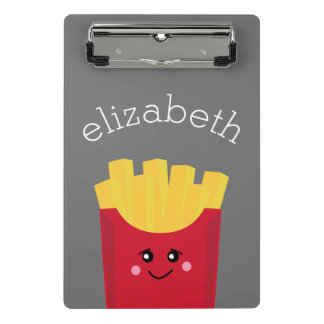 Cute Kawaii French Fries with Custom Name Mini Clipboard