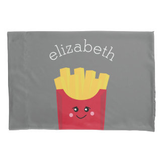 Cute Kawaii French Fries with Custom Name Pillowcase