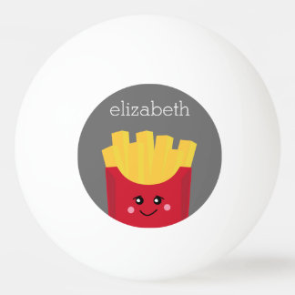 Cute Kawaii French Fries with Custom Name Ping Pong Ball