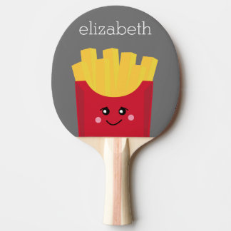 Cute Kawaii French Fries with Custom Name Ping Pong Paddle