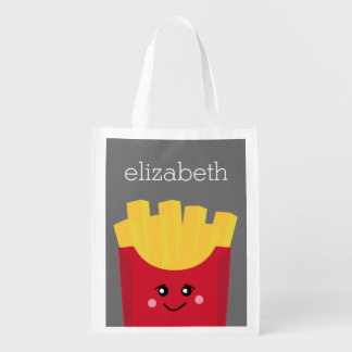 Cute Kawaii French Fries with Custom Name Reusable Grocery Bag