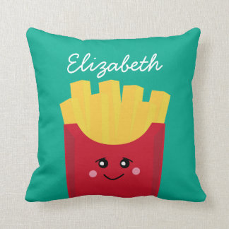 Cute Kawaii French Fries with Custom Name Throw Pillow