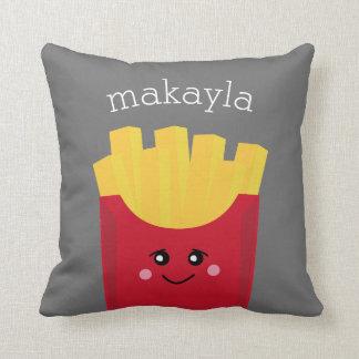 Cute Kawaii French Fries with Custom Name Throw Pillow