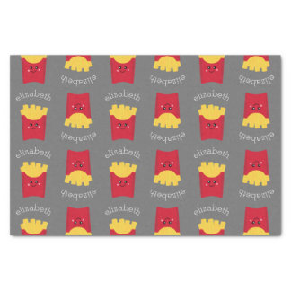Cute Kawaii French Fries with Custom Name Tissue Paper