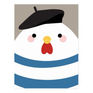 Cute Kawaii French Hen Illustration Postcard