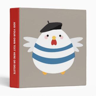 Cute Kawaii French Hen Illustration Vinyl Binder