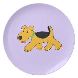 Cute Kawaii Frisky Airedale Terrier Puppy Plate