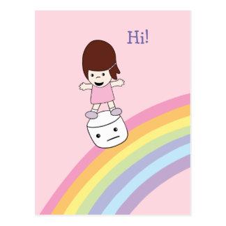 Cute Kawaii Girl on Rainbow w Marshmallow Postcard