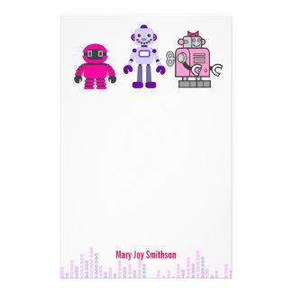 Cute & Kawaii Girl's Pink Cyborgs Robot Stationery Design