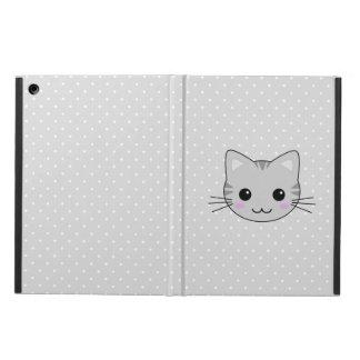 Cute Kawaii Gray Tabby Cat Cartoon iPad Air Covers
