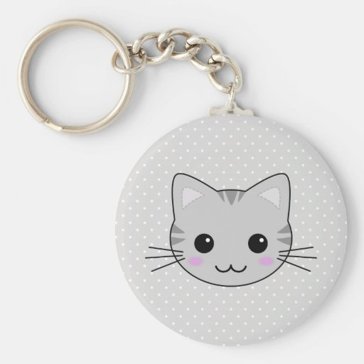 Cute Kawaii Gray Tabby Cat Cartoon Keychains