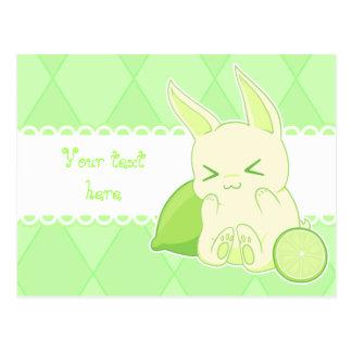 Cute kawaii green lime bunny birthday card