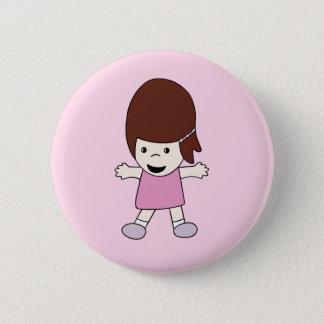 Cute Kawaii Happy Cartoon Girl Button