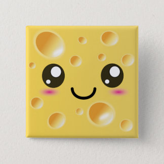 Cute Kawaii Happy Cheese 2 Inch Square Button