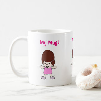 "Cute Kawaii Happy Girl ""My Mug!""  Design Coffee Mug"