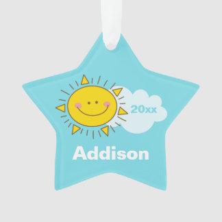 Cute Kawaii Happy Sunshine Baby First Christmas Ornament