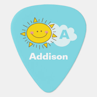 Cute Kawaii Happy Sunshine Monogram Add Your Name Guitar Pick