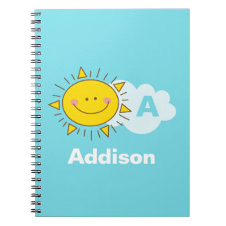 Cute Kawaii Happy Sunshine Monogram Add Your Name Notebook