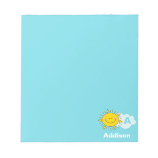 Cute Kawaii Happy Sunshine Monogram Add Your Name Notepad