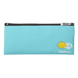 Cute Kawaii Happy Sunshine Monogram Add Your Name Pencil Case