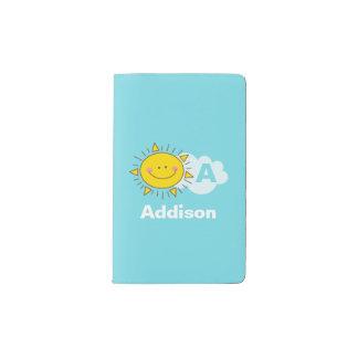Cute Kawaii Happy Sunshine Monogram Add Your Name Pocket Moleskine Notebook