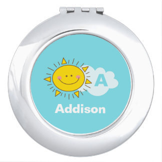 Cute Kawaii Happy Sunshine Monogram Add Your Name Travel Mirror