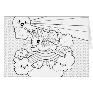 Cute kawaii happy unicorn rainbow coloring page card