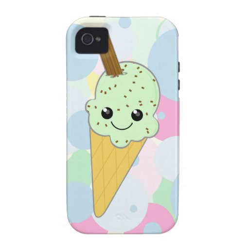 Cute Kawaii Ice Cream Cone Mint Choc Chip Vibe iPhone 4 Covers