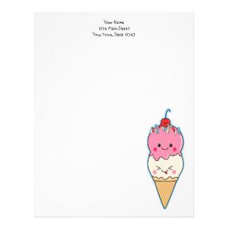 Cute Kawaii Ice Cream Custom Letterhead