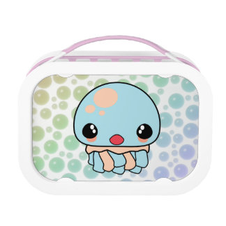 cute kawaii jellyfish with bubbles background lunchbox