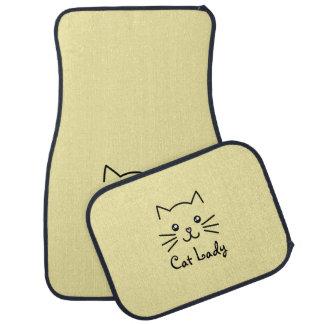 Cute Kawaii Kitten Cat Face Cat Lover Minimalist Car Mat
