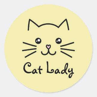 Cute Kawaii Kitten Cat Face Cat Lover Minimalist Classic Round Sticker