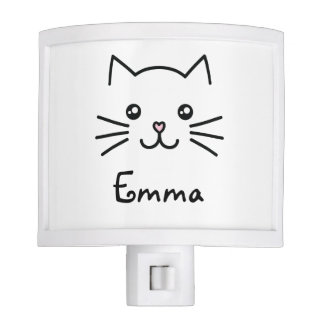 Cute Kawaii Kitten Cat Face With Pink Heart Nose Night Light