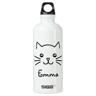 Cute Kawaii Kitten Cat Face With Pink Heart Nose Water Bottle