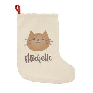 Cute Kawaii Kitten Cat Lover Whimsical Monogram Small Christmas Stocking