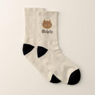 Cute Kawaii Kitten Cat Lover Whimsical Monogram Socks
