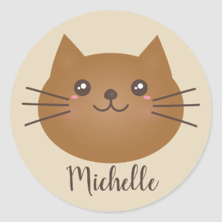 Cute Kawaii Kitty Cat Lover Monogram Add Your Name Classic Round Sticker