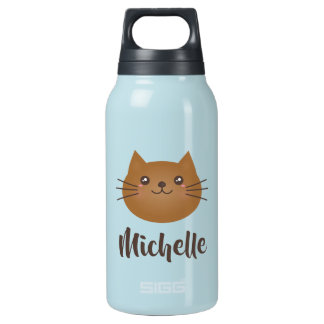 Cute Kawaii Kitty Cat Lover Whimsical Monogram Insulated Water Bottle