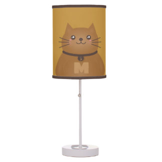 Cute Kawaii Kitty Cat Lover Whimsical Monogram Table Lamp