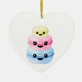 Cute Kawaii Macaron Stack Ceramic Heart Ornament