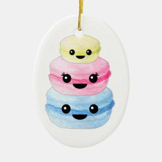 Cute Kawaii Macaron Stack Ceramic Oval Ornament
