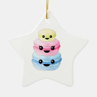 Cute Kawaii Macaron Stack Ceramic Star Ornament