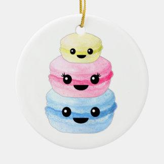 Cute Kawaii Macaron Stack Round Ceramic Ornament