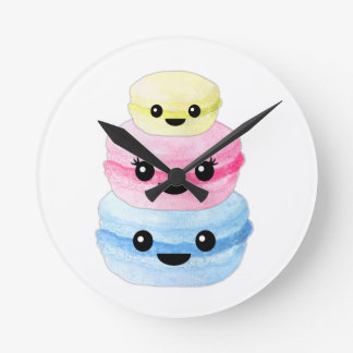 Cute Kawaii Macaron Stack Round Clock