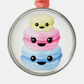 Cute Kawaii Macaron Stack Silver-Colored Round Ornament