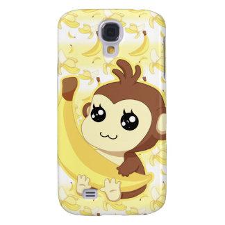 Cute Kawaii monkey holding banana