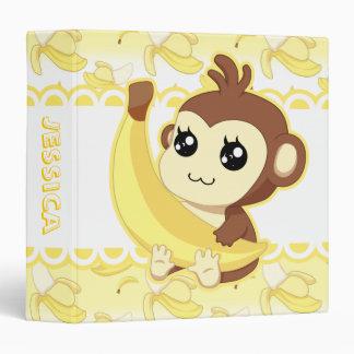 Cute Kawaii monkey holding banana 3 Ring Binder