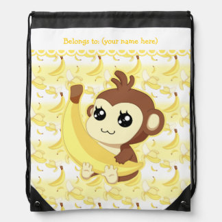 Cute Kawaii monkey holding banana Backpacks