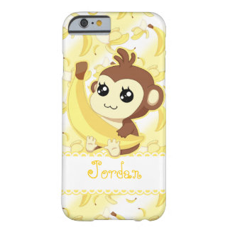 Cute Kawaii monkey holding banana Barely There iPhone 6 Case